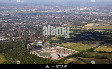 aerial view of HM Prison High Down & Down View Prison, Surrey, UK - Stock Photo