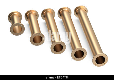 set of cooper pipes isolated on white background - Stock Photo