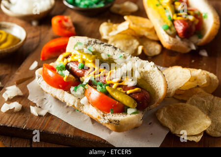 Homemade Chicago Style Hot Dog with Mustard Relish Tomato and Onion - Stock Photo