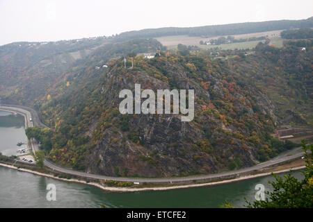 Loreley-Felsen, Rhein, Rheinland-Pfalz. - Stock Photo