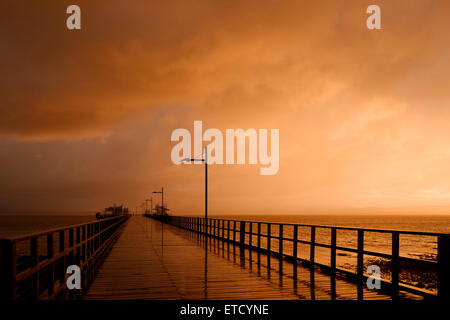 Dusk at Woody Point Jetty - Stock Photo