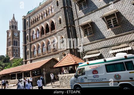 Mumbai India Indian Asian Fort Mumbai Dr. Kane Road Bombay High Court ambulance Rajabai Clock Tower - Stock Photo