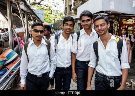 Mumbai India Indian Asian Fort Mumbai Mantralaya Mahatma Gandhi Road public bus stop Elphinstone College University - Stock Photo