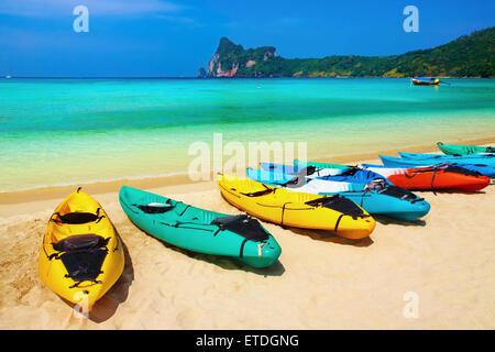 Kayaks on the tropical beach, Phi-Phi Don island, Thailand - Stock Photo