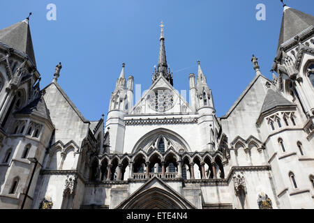 A close-up view of the Royal Courts of Justice in central London - Stock Photo