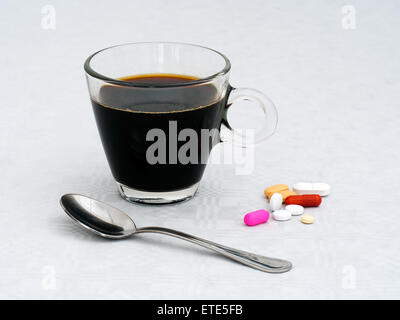 Morning medication breakfast. Dependency on drugs, concept. - Stock Photo