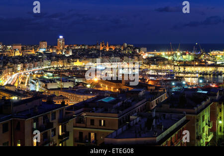 night scene with the port of Genoa, Liguria, Italy - Stock Photo
