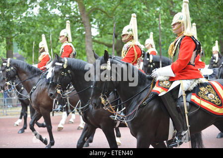 The Mall, London, UK. 13th June 2015. Crowds watch the annual Trooping the Colour, the Queen's Birthday Parade. - Stock Photo