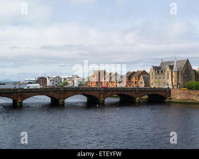 View to new road bridge across the River Ayr built 1878 to the Borderline Theatre and redeveloped dock area Ayr - Stock Photo
