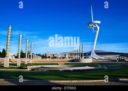 Olympic ring (Anella Olímpica): Palau Sant Jordi, Estadi Olímpic and Montjuïc Communications Tower. Olympic Games - Stock Photo