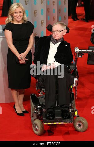 The EE British Academy Film Awards (BAFTA) 2015 - Arrivals  Featuring: Professor Stephen Hawking, daughter Lucy - Stock Photo