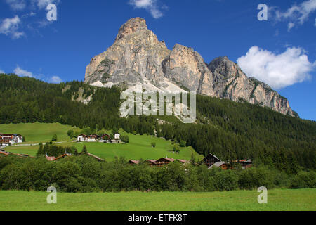 Mount Sassongher from the village of Corvara in Badia, Dolomites, Italy. - Stock Photo