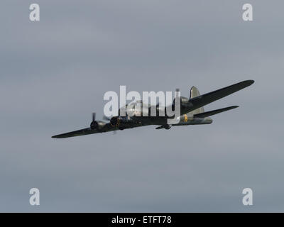 Duxford, UK - May 23rd 2015: B17 Flying Fortress 'Memphis Belle' seen at Duxford VE Day Airshow - Stock Photo