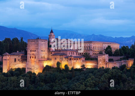 The Alhambra, Granada Moorish palace Andalucia, Spain - Stock Photo