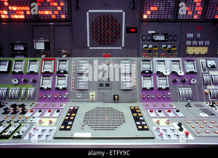 Computerized control room of a nuclear power plant - Stock Photo