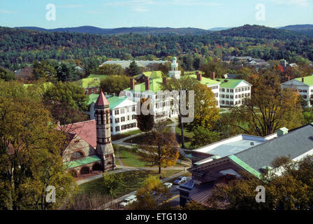 Elevated view of Dartmouth College campus in Hanover, New Hampshire, USA - an Ivy League school. - Stock Photo