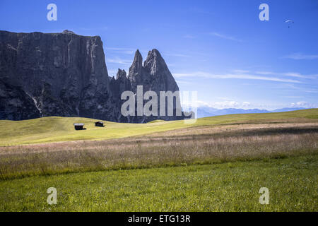 Amazing view on Schlern (Sciliar) mountain and Seiser Alm (Alpe di Siusi). Dolomite Alps, South Tyrol, Italy. - Stock Photo