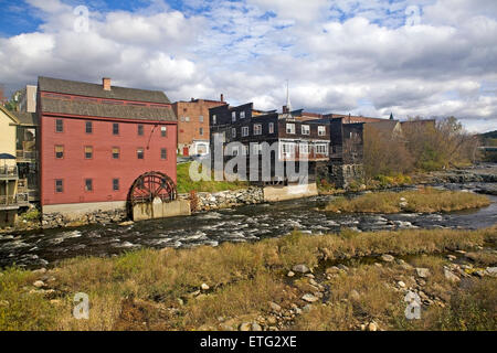The restored and operational Littleton Grist Mill and water wheel on the Ammonoosuc river in New Hampshire, USA. - Stock Photo