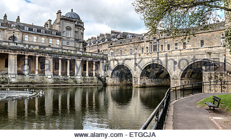 Pulteney Bridge across the River Avon seen from the Parade Gardens, Bath, Somerset, England - Stock Photo