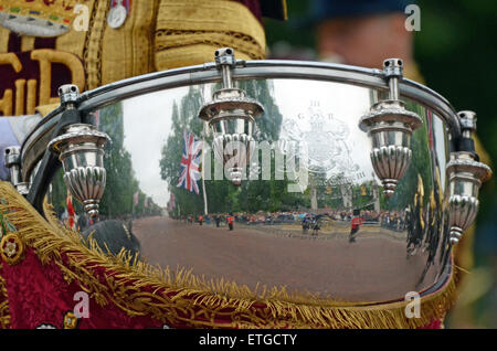 Kettle Drum reflection. Trooping of the Colour in The Mall. London - Stock Photo