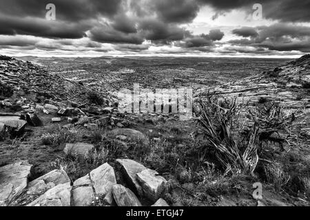 Black and White Utah Escalante Landscape Dramatic Stormy Sky - Stock Photo