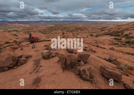 Hiking Neon Canyon to Golden Cathedral Escalante National Park Utah - Stock Photo