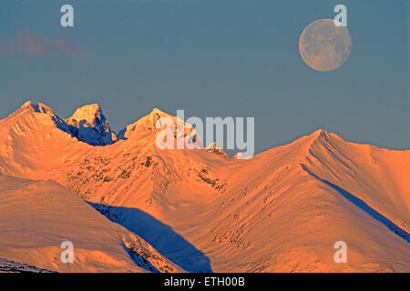 Full Moon over Hudson Bay Mountain,Northern British Columbia,Canada - Stock Photo