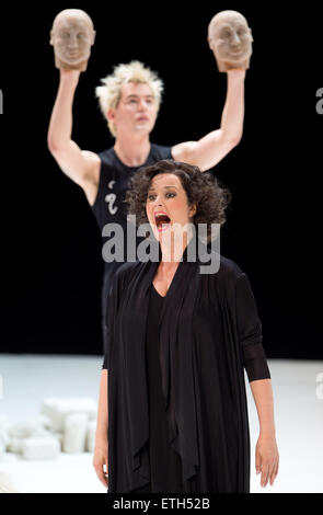 Berlin, Germany. 09th June, 2015. Camilla Nylund (front) as Ariadne performs on stage during a photo rehearsal of - Stock Photo