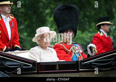 QUEEN ELIZABETH II, LONDON, UK - JUNE 13th 2015: Queen Elizabeth II and Prince Philip at Queen's Birthday Parade, - Stock Photo