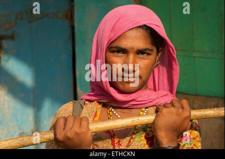 Portrait of a Rajasthani woman. Jaisalmer, Rajasthan, India - Stock Photo