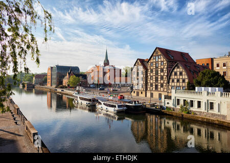 City of Bydgoszcz in Poland with Granaries by the Brda River. - Stock Photo