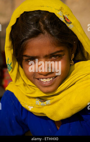 Portrait of a Rajasthani girl, Jaisalmer Rajasthan, India - Stock Photo