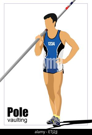 Athlete pole vaulting. Track and field. Vector illustration. - Stock Photo