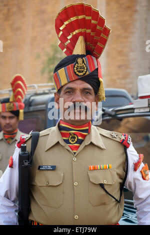 Indian Border Security Force. Soldier in uniform. Rajasthan, India - Stock Photo