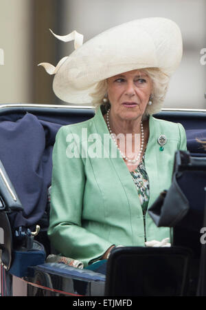 Camilla, Duchess of Cornwall, returns to Buckingham Palace following the Trooping of the Colour Queen's annual birthday - Stock Photo