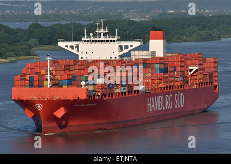 Cap San Artemissio inbound for Hamburg - Stock Photo