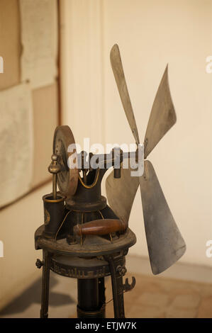 Antique fan, City Palace, Udaipur, Rajasthan, India - Stock Photo