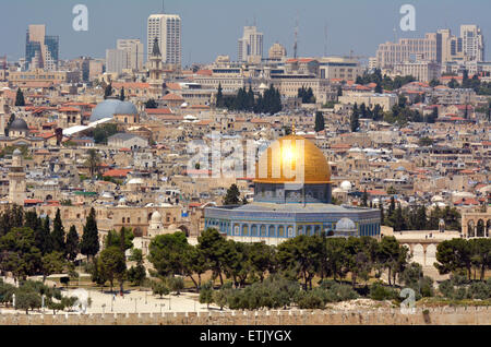 Urban landscape view of Jerusalem and The Dome of the Rock on the Temple Mount from the mount of Olives in Jerusalem, - Stock Photo