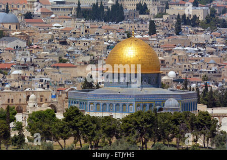 Aerial view the Dome of the Rock on the Temple Mount from the mount of Olives in Jerusalem, Israel - Stock Photo