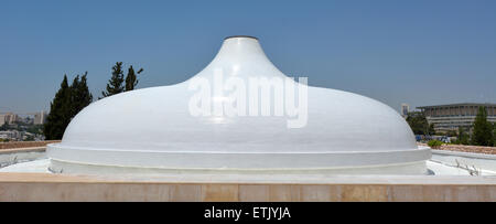 Exterior panoramic view of the Shrine of the Book, Museum of Israel, Jerusalem - Stock Photo