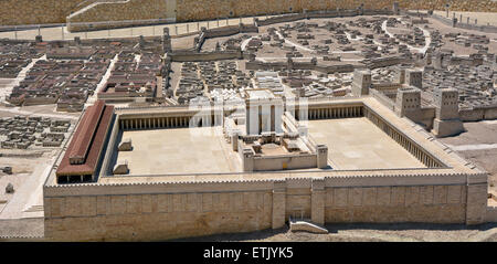 JERUSALEM - MAR 19 2015:Second Temple Model of the ancient in Jerusalem, Israel.Jewish eschatology includes a belief - Stock Photo