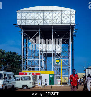 BP Petrol station with raised tanks, Banjul, Gambia, West Africa - Stock Photo