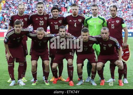 Moscow, Russia. 14th June, 2015. Russia's players pose for a photograph ahead of the 2016 UEFA European Championship - Stock Photo