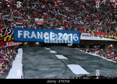 Moscow, Russia. 14th June, 2015. Fans attend the 2016 UEFA European Championship Qualifying Round Group G football - Stock Photo