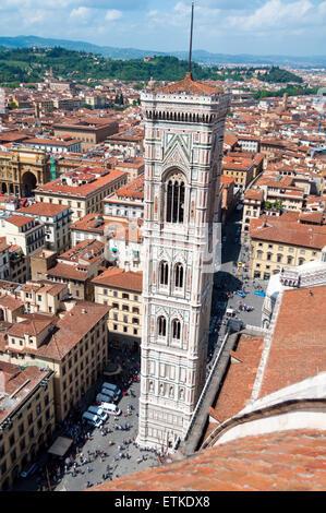 Giotto's Bell tower (Campanile) of the Basilica di Santa Maria del Fiore (the Duomo), Florence, Italy - Stock Photo