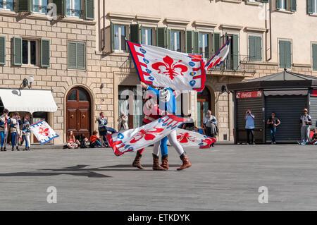 The historic parade before the 2013 Calcio Fiorentino (also known as calcio storico 'historic football') - Stock Photo