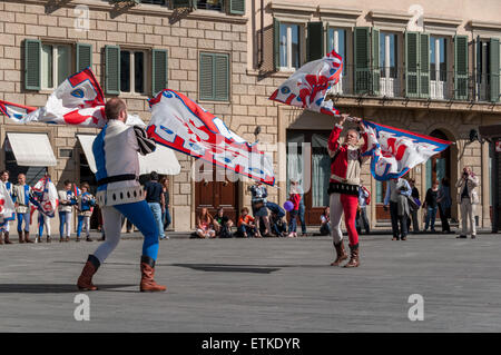 The historic parade before the 2013 Calcio Fiorentino (also known as calcio storico 'historic football') - Stock Photo