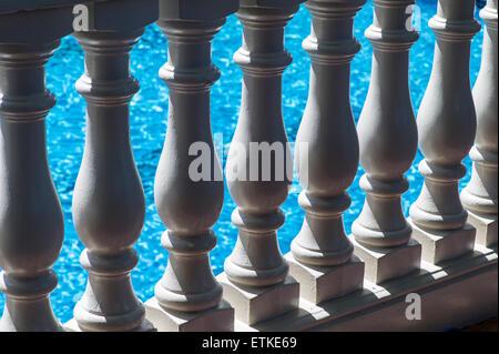 Architectural detail of columns, Kaua'i Marriott Resort; Kalapaki Bay, Kaua'i, Hawaii, USA - Stock Photo