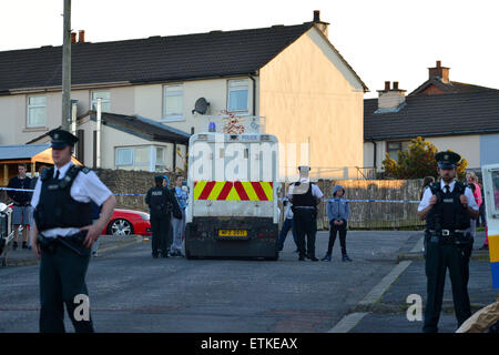Londonderry, Northern Ireland – 14 June 2015. Police are investigating a shooting incident this evening in the Creggan - Stock Photo