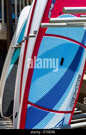 Graphic image of standup paddleboards, Kalapaki Bay, Kaua'i, Hawaii, USA - Stock Photo